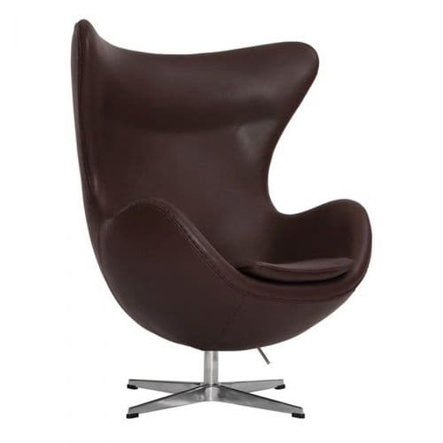 Jacobsen Style Egg Chair - Leather - Brown