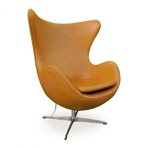 Jacobsen Style Egg Chair - Leather - Tan