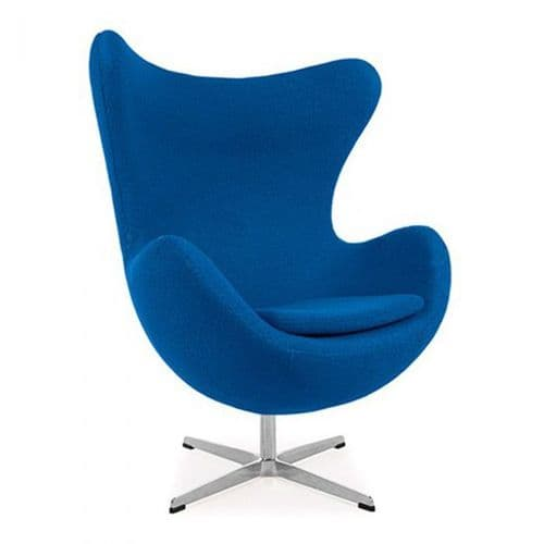 Jacobsen Style Egg Chair - Wool - Blue