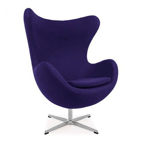 Jacobsen Style Egg Chair - Wool - Purple