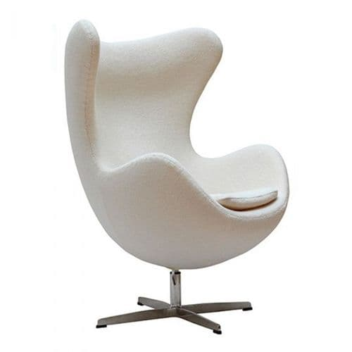 Jacobsen Style Egg Chair - Wool - White