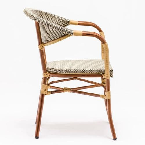 Natural Faux Wicker Outdoor Armchair