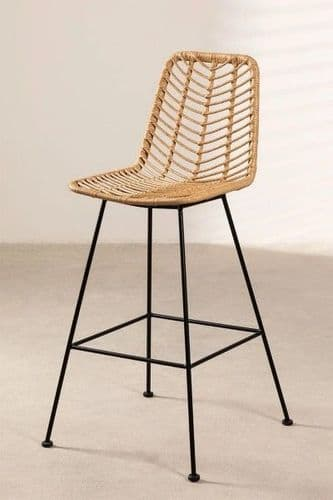 Natural Synthetic High Stool - Rattan