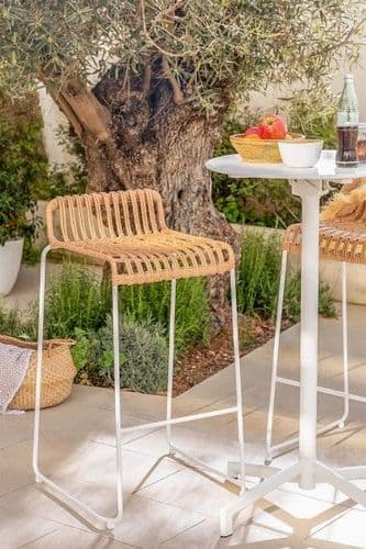 Natural Synthetic High Stool - Rattan with White Leg