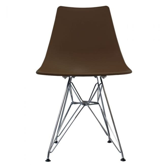 Nora DSR Side Chair Chrome Legs - Coffee
