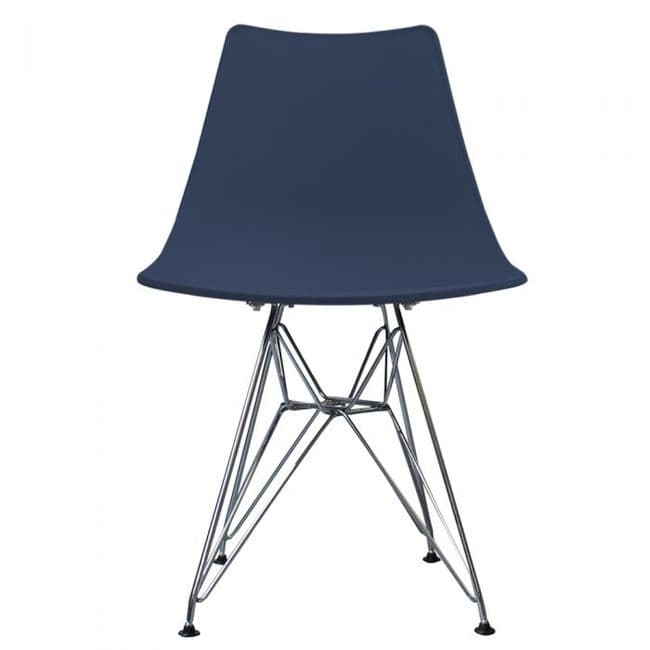 Nora DSR Side Chair Chrome Legs - Navy Blue
