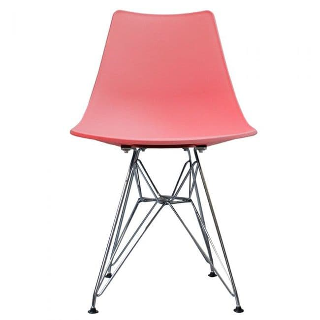 Nora DSR Side Chair Chrome Legs - Pink