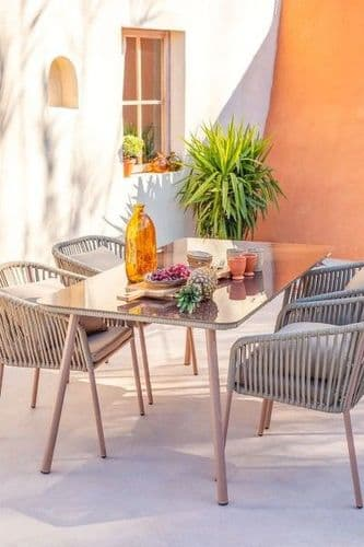 Outdoor Glass and Aluminium Table (160 x 90cm) - Brown Frappé