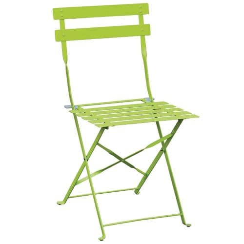 Pavement Style Steel Folding Chairs Green (Pack of 2)