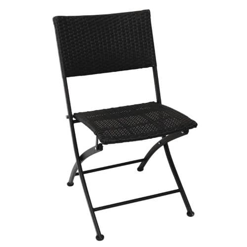 Pavement Style Wicker Folding Chair Set Black (Pack of 2)