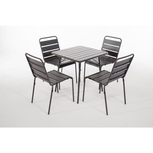 Slatted Steel 4 Chair and Square Table Set - Grey