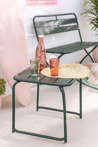 Square Outdoor Steel Side Table - Jungle Green