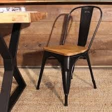 Tolix Chair with Wooden Seat