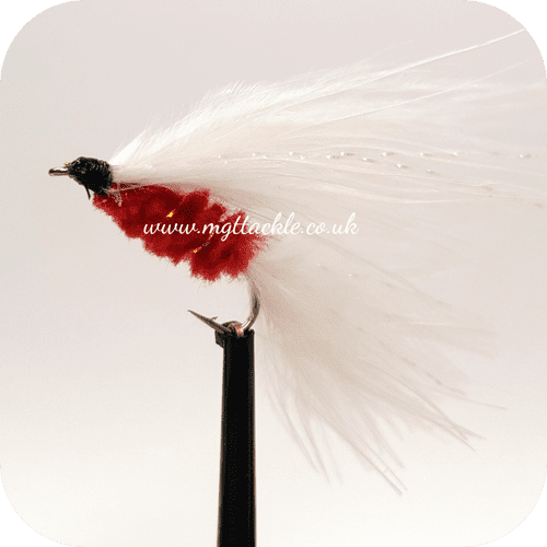 CAT'S WHISKER WHITE AND RED LONG SHANK LURE