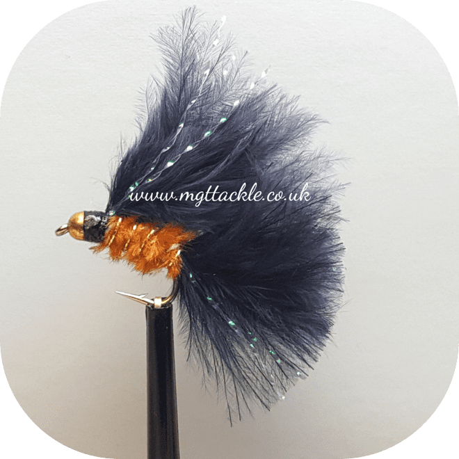 GOLD HEAD BLACK AND ORANGE CATS WHISKER SHORT SHANK LURE