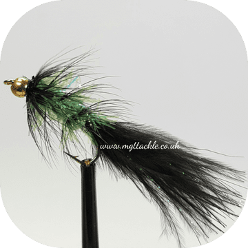 GOLD HEAD LIME FRITZ AND BLACK TADPOLE  LONG SHANK LURES