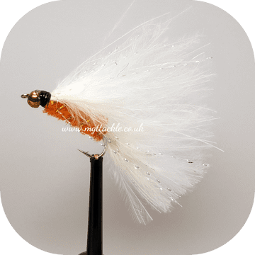 GOLD HEAD ORANGE AND WHITE CATS WHISKER LONG SHANK LURES