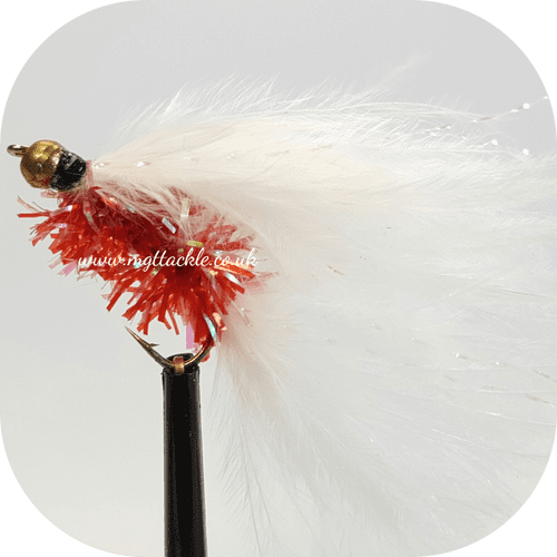 GOLD HEAD RED AND WHITE CATS WHISKER LONG SHANK LURE