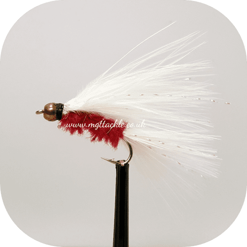 GOLD HEAD WHITE AND RED CATS WHISKER LONG SHANK LURE