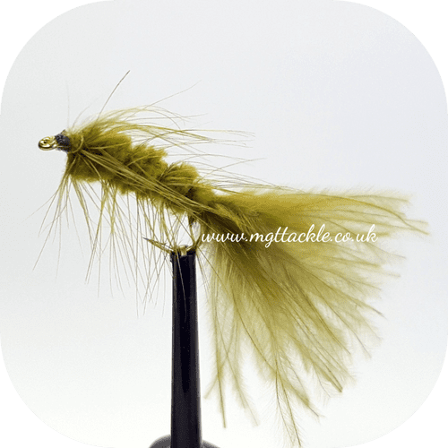 OLIVE TADPOLE LONG SHANK LURE  sizes 10, 12  available