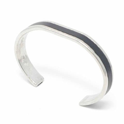 10 mm Straight End Bangle with Black Leather Inlay