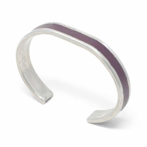10 mm Straight End Bangle with Burgundy Leather Inlay