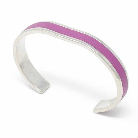 10 mm Straight End Bangle with Grape Leather Inlay