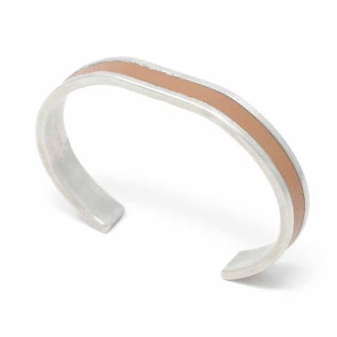 10 mm Straight End Bangle with Tan Leather Inlay