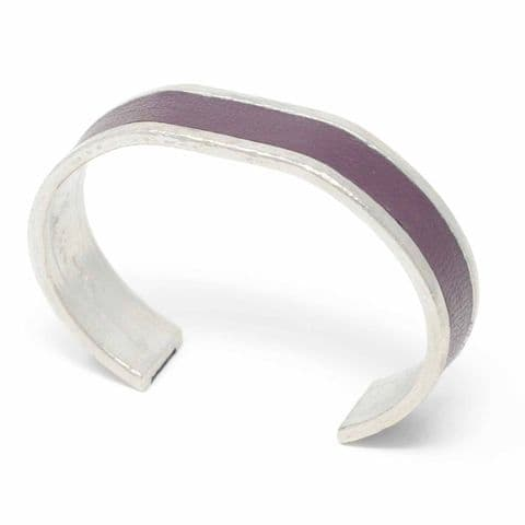 15 mm Straight End Bangle with Burgundy Leather Inlay
