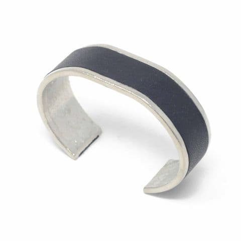 20 mm Straight End Bangle with Black Leather Inlay