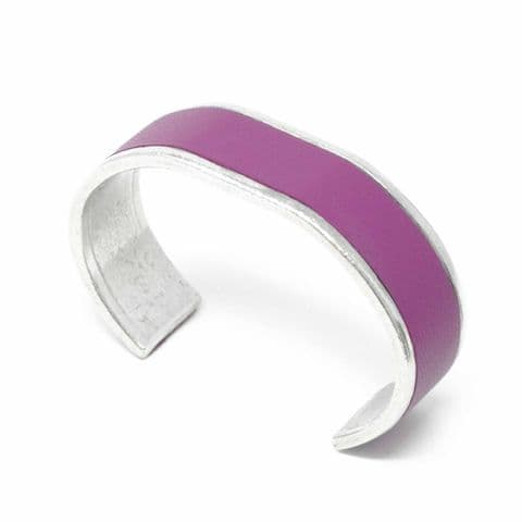 20 mm Straight End Bangle with Grape Leather Inlay