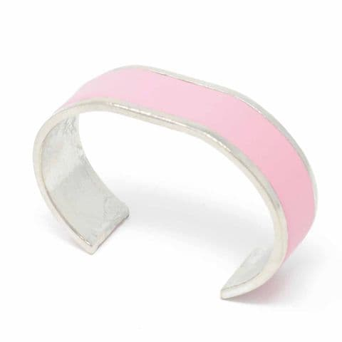 20 mm Straight End Bangle with Pink Leather Inlay