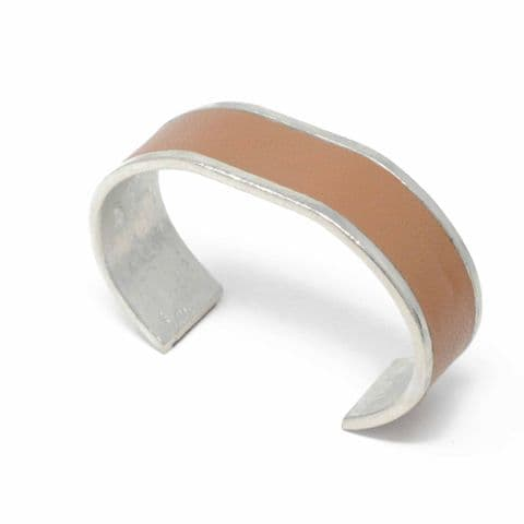 20 mm Straight End Bangle with Tan Leather Inlay