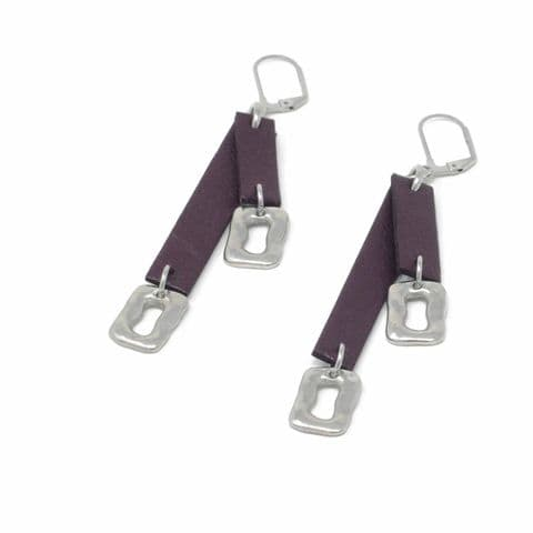 Double Burgundy Leather and Small Ring Feature Earrings