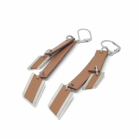 Double Tan Leather and Diamond Feature Drop Earrings with Leather Inlay