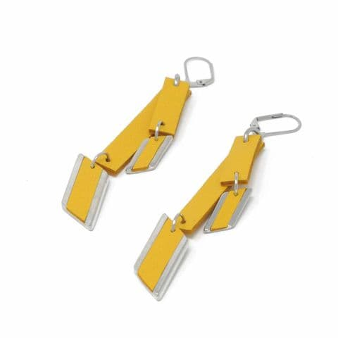 Double Yellow Leather and Diamond Feature Drop Earrings with Leather Inlay