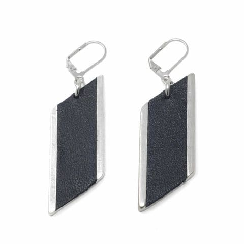 Large Diamond Feature Drop Earrings with Black Leather Inlay