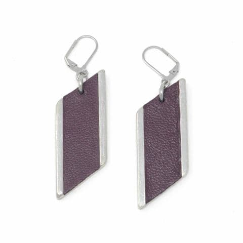 Large Diamond Feature Drop Earrings with Burgundy Leather Inlay
