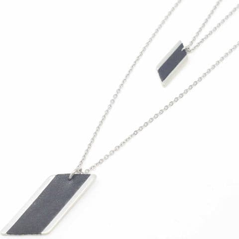 Long Double Chain Diamond Feature Necklace with Black Leather Inlay