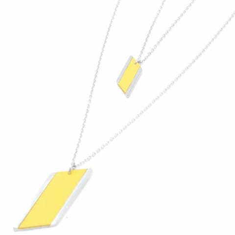 Long Double Chain Diamond Feature Necklace with Yellow Leather Inlay