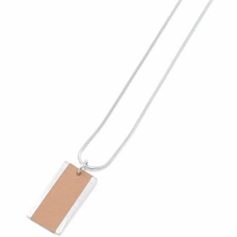 Long Large Rectangle Feature Snake Chain Necklace with Tan Leather Inlay