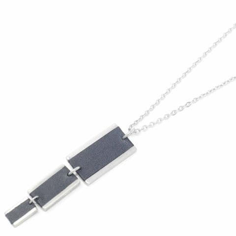 Long Triple Rectangle Feature Necklace with Black Leather Inlay