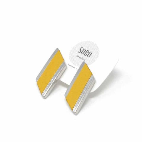 Medium Diamond Feature Stud earrings with Yellow Leather Inlay