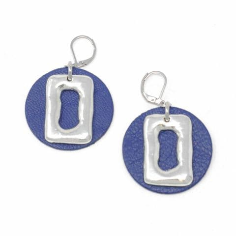 Medium Ring Feature Drop earrings with Blue Leather Circle Backdrop