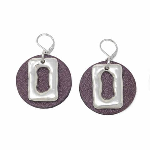 Medium Ring Feature Drop earrings with Burgundy Leather Circle Backdrop