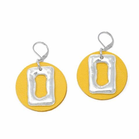 Medium Ring Feature Drop earrings with Yellow Leather Circle Backdrop