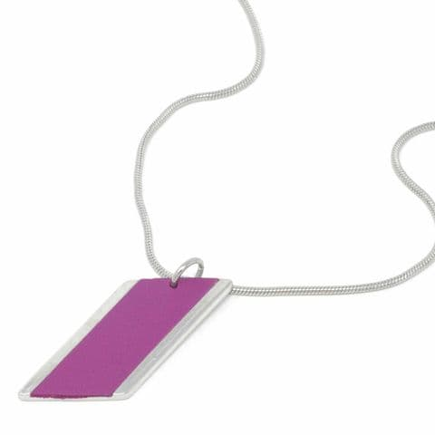 Short Large Diamond Feature Snake Chain Necklace with Grape Leather Inlay