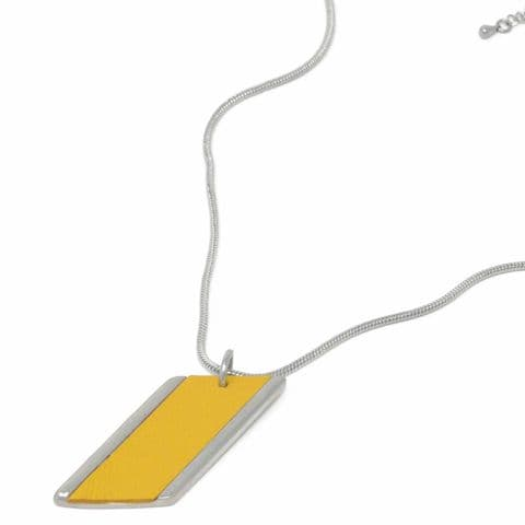 Short Large Diamond Feature Snake Chain Necklace with Yellow Leather Inlay