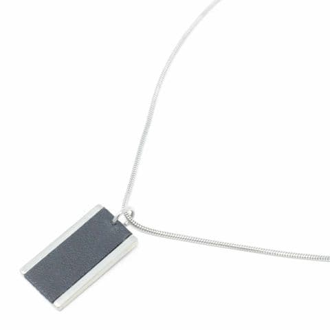 Short Large Rectangle Feature Snake Chain Necklace with Black Leather Inlay