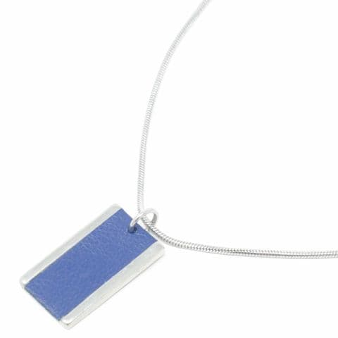Short Large Rectangle Feature Snake Chain Necklace with Blue Leather Inlay